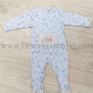 pelele bebe largo azul celeste estampado con bolsillo