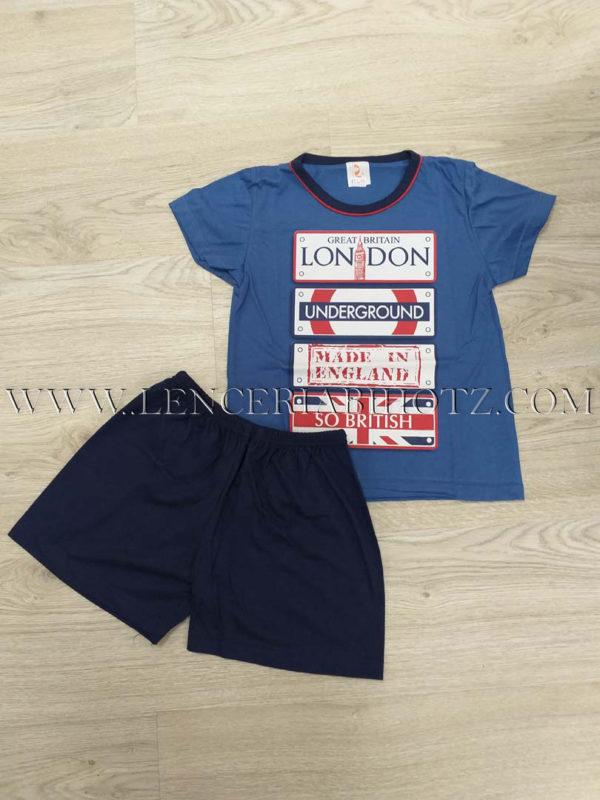 pijama niño corto London. Camiseta manga corta azulon y bermuda azul marino con goma