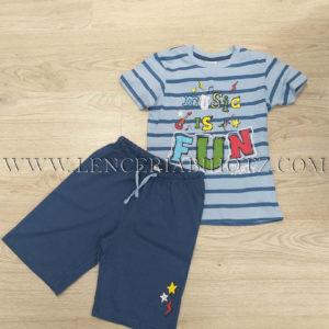 pijama corto niño con camiseta a rayas azul