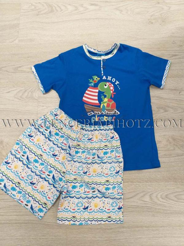 pijama corto niño azul pantalon corto estampado de mar, camiseta azulon