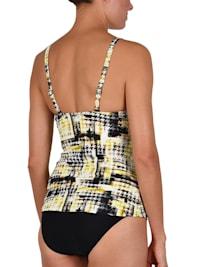 tankini dorado y negro camiseta con aros interiores y braga alta