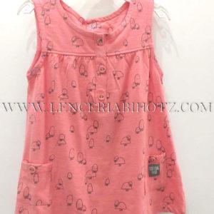 vestido sin mangas con bolsillos y botones color coral