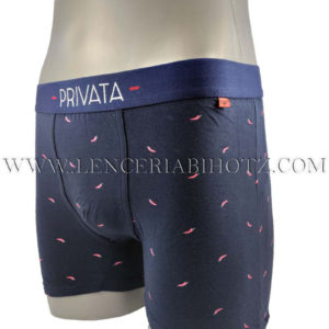 boxer hombre algodon goma ancha con letras privata. Fondo marino con guindillas rojas
