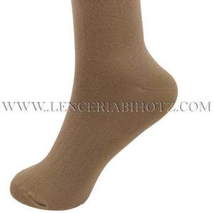 calcetin sin goma remate rulo tacto seda, lycra. Color camel
