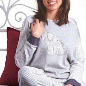 pijama manga larga con puño en mangas y pantalon, gris de rayas, dibujo central de elefante