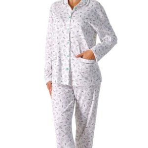 pijama mujer manga larga chaqueta abierta con botones, bolsillos y cuellos. Estampado libelulas sobre blanco