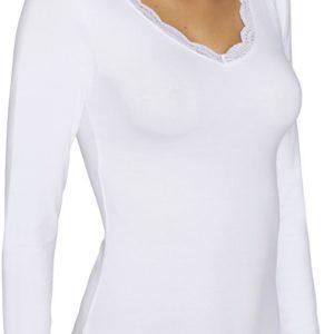 camiseta manga larga con encaje en mangas y en escote, cuello pico. color blanco