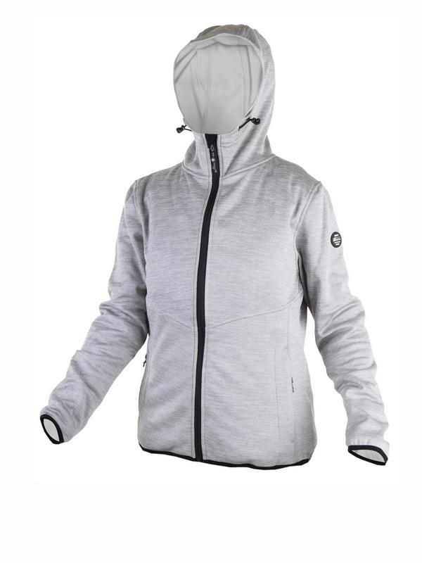 chaqueta mujer sudadera, gris plata jaspeada con chapucha. Bolsillos de cremallera, cierre cremallera, forro polar