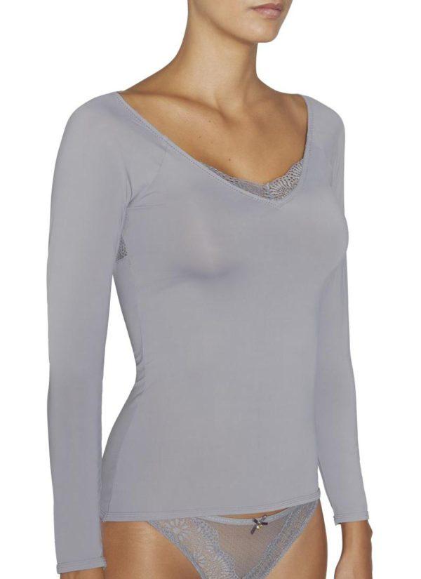 camiseta manga larga lycra escote en pico con encaje, espalda descubierta con encaje en forma de triangulo. color gris plata