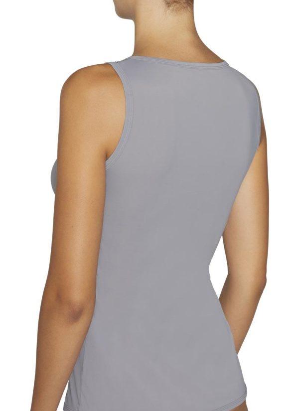 camiseta sin mangas cuello redondo escote trasnsparente encaje. Tejido lycra satinado. Color gris