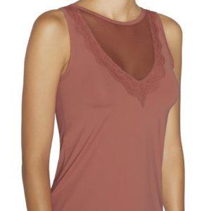 camiseta sin mangas cuello redondo escote trasnsparente encaje. Tejido lycra satinado. Color terracota