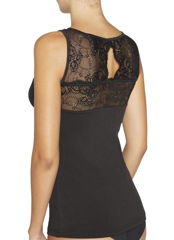 camiseta interior afelpado negra, con encaje en escote, tirantes y espalda