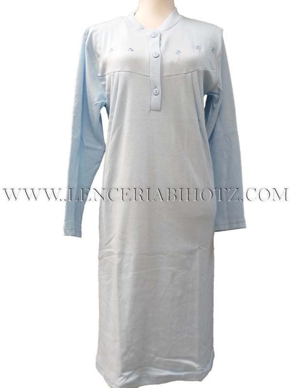camison manga larga liso en azul celeste con abertura botones, corte en el pecho y felpa interior