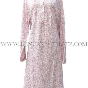 camison con cuello cuadrado con botones y estampado de flores en rosa, 3 lorzas a cada lado de los botones
