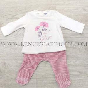 conjunto polaina bebe camiseta abertura trasera corchetes en crudo y polaina color rosa palo con rayas en crudo