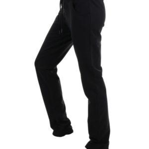 pantalon algodon chandal negro con cinturilla ancha con cordones y perchado suave