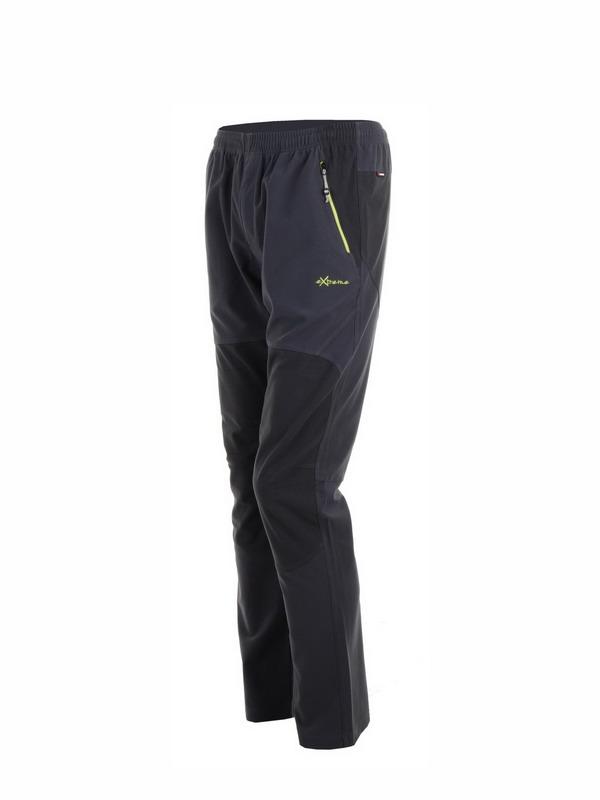 pantalon hombre micropana negro con petacho gris marengo en las rodillas y la parte trasera, cremalleras en verde