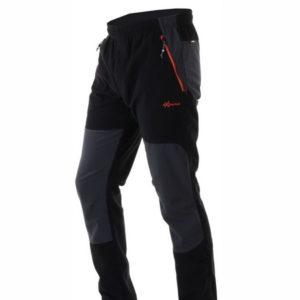pantalon hombre micropana negro con petacho gris en las rodillas y la parte trasera, cremalleras en rojo