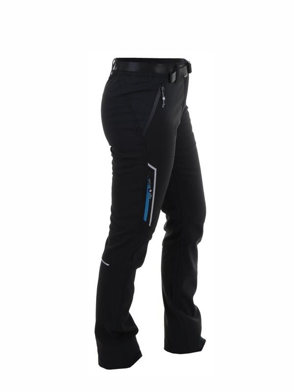 pantalon montaña mujer negro con refuerzo en rodilla, cremalleras en bolsillos, tres deslaneros uno de ellos de color turquesa. Bragueta y cinturon