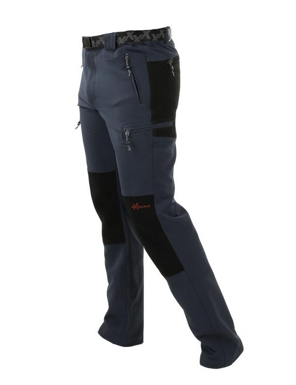pantalon montaña hombre gris con rodillas y culera en negro. Cremalleras, 4 bolsillos delanteros, y dos traseros