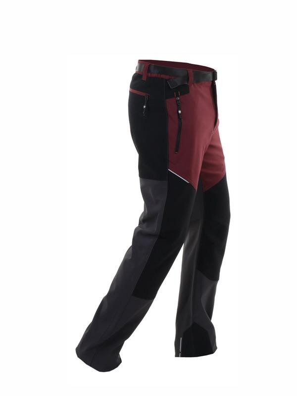 pantalon hombre gris y granate con rodilleras en negro, parte trasera gris y negra. Cremalleras y cinturon.
