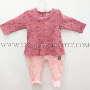 pijama bebe niña en frambuesa la camiseta con volante en el bajo, y corchetes traseros. Polaina rosa palo