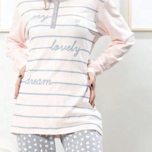 pijama algodon camiseta rosa con rayas grises y rayas, puños. Pantalon gris con corazones en rosa con puño