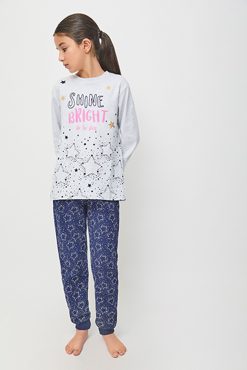 pijama niña algodon con puños. Camiseta manga larga gris jaspeado con puños y estrellas, pantalon azul marino con estrellas en gris