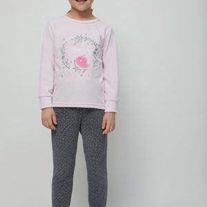 pijama niña terciopelo. Camiseta manga larga con puños en rosa pastel con bordados, pantalon con puños gris marengo estampado