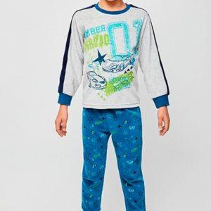 pijama niño terciopelo con puños en mangas y pantalon, Camiseta manga larga gris con puños azules y dibujos de coches. Pantalon estampado azulon
