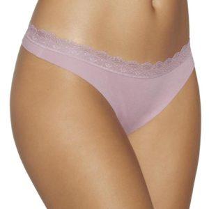 tanga liso algodon con encaje en la cintura. Cortada con laser, color rosa maquillaje