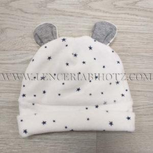 gorro bebe terciopelo con orejas en blanco y estrellas en azul marino