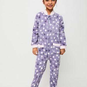 pijama manta niña morado y puños rosas. suela antideslizante y cremallera hasta los pies. Tejido coralina invierno