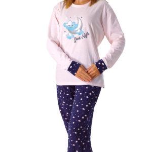 pijama mujer camiseta rosa y pantalon marino con estrellas y nubes en rosa. Puños anchos