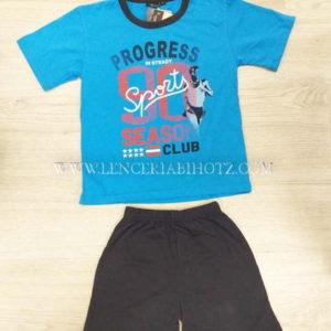 pijama niño manga corta juvenil verano camiseta azul intenso y bermuda azul marino