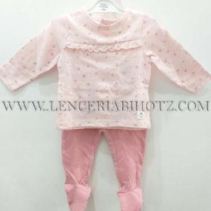 conjunto algodon bebe con camiseta rosa pastel manga larga con volante. Polaina rosa intenso