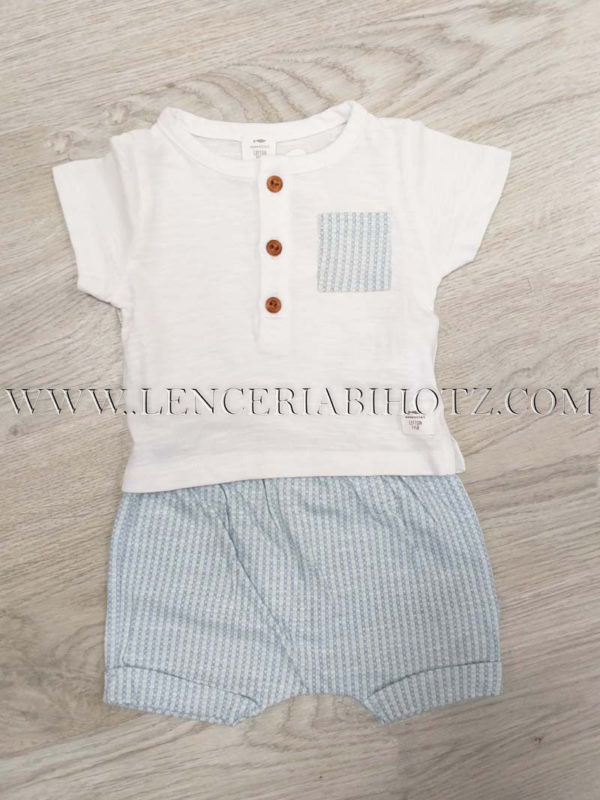 conjunto bebe bermuda azul cuadritos tela, camiseta manga corta con botones en blanco
