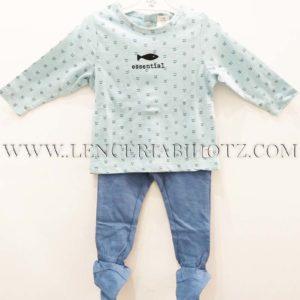 conjunto bebe polaina azul jeans, y camiseta celeste manga larga con corchetes traseros