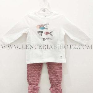 conjunto algodon bebe camiseta manga larga corchetes traseros blanco estampado central peces, polaina rosa palo intenso estampado escamas