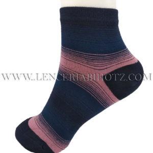 calcetin mujer tobillero con rayas en puntera y talon de color
