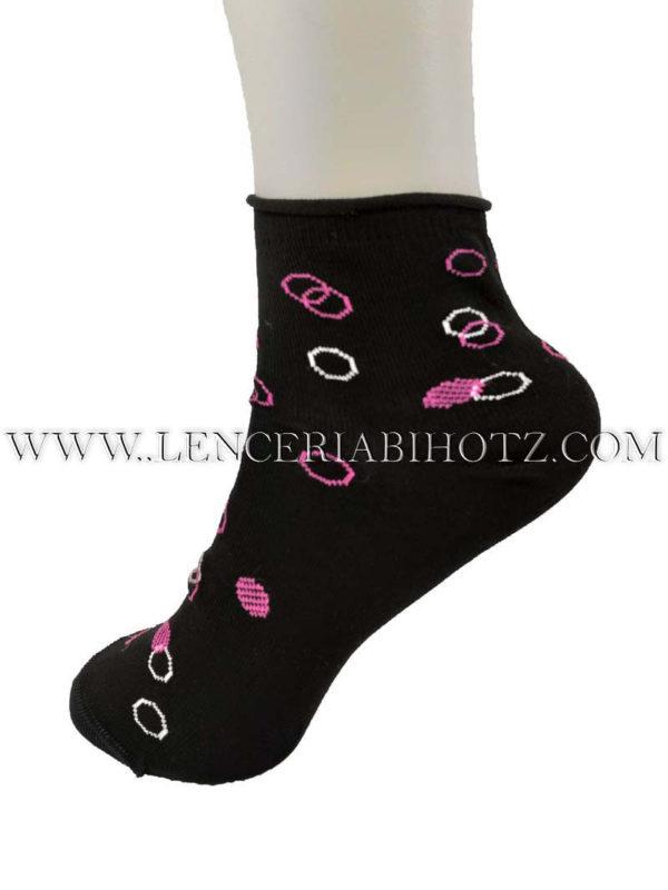 tobillero sin goma negro con fantasia geometrica en rosa y blanco