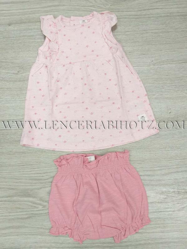 vestido verano de tirantes en rosa pastel con cubrepañal en rosa palo intenso