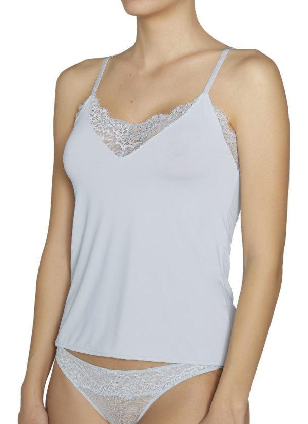 Camiseta tirantes finos escote pico con encaje gris perla