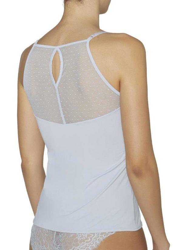 Camiseta tirantes finos espalda encaje gris perla