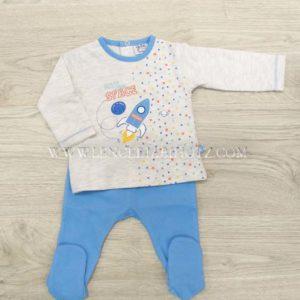 conjunto polaina bebe azulon y camiseta manga larga gris con remate de cuello azul y dibujo central cohete, corchetes traseros