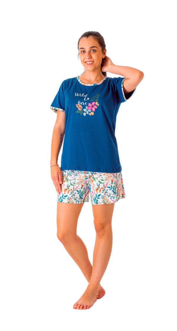 Pijama manga corta algodón 100% fabricado en españa estampado flores