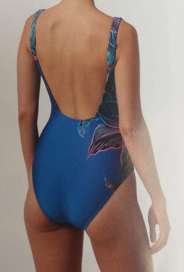 bañador azul estampado vivo lateral, Aros interiores, tirantes anchos regulables
