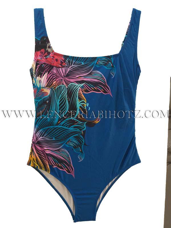 bañador escote cuadrado azulon con estampado lateral de flores multicolor