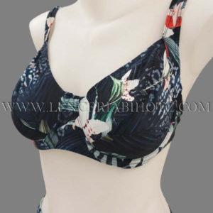 bikini sujetador reductor aros y tirantes anchos, braga alta, fondo marino y estampado floral