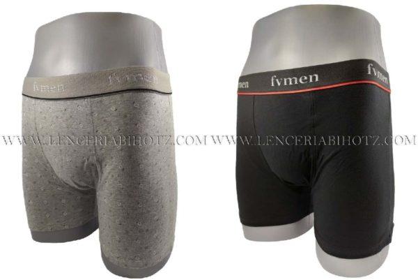 lote 2 boxers, gris jaspeado de fantasia y negro liso